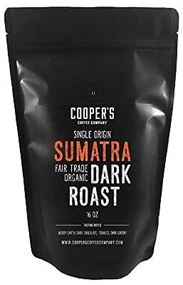 Organic Fair Trade Sumatra Dark Roast Coffee, Single Origin Sumatra Gourmet Coffee - 1lb Bag - Roasted Coffee Beans