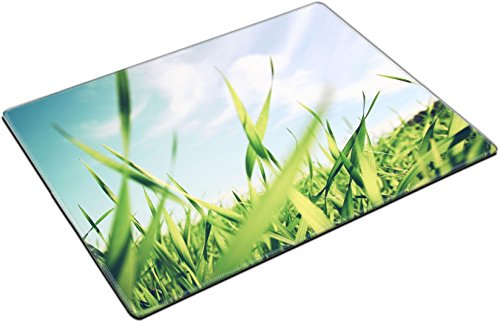 MSD Place Mat Non-Slip Natural Rubber Desk Pads design 34901495 llect low angle view of fresh grass against blue sky with clouds freedom and renewal by MSD