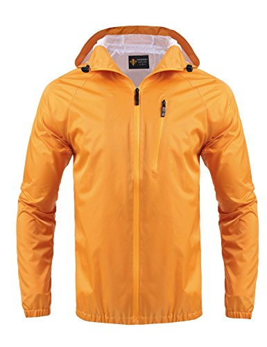 Jinidu Unisex Lightweight Hooded Running Cycling Rain Jacket Outdoor Raincoat (Large, (Orange Raincoat)