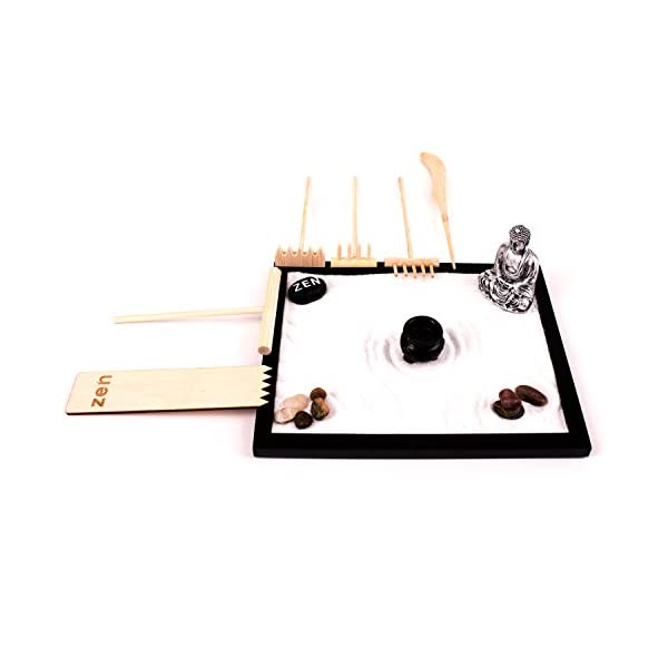 Deluxe-Wooden-Zen-Sand-Garden-with-6-Types-of-Rakes-2-Meditation-Figurines-Sand-and-Rocks-Model-RG-003