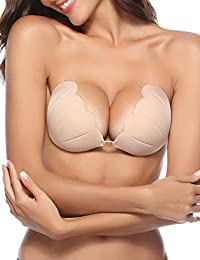 Strapless Bra, Adhesive Reusable Invisible Silicone Sticky Push-up Bra