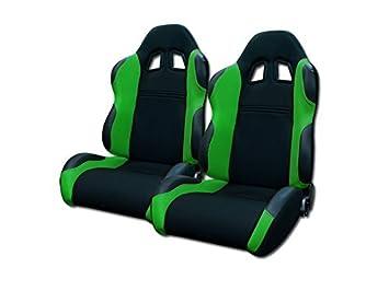 Universal Jdm-Ts Blk//Green Cloth Car Racing Bucket Seat+Sliders Pair Jap Vehicle