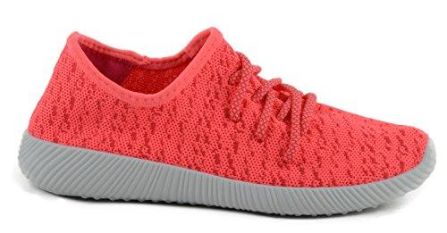 Qupid Womens Nacara-02 Fashion Leggero Basso Top Stringate In Pizzo Su Sneaker Rosa Neon
