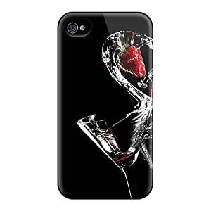 Tpu Case For Iphone 4/4s With Strawberry Drinks