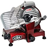 "KWS Premium 180w Electric Meat Slicer 6""(Red) Stainless Blade, Frozen Meat/ Cheese/ Food Slicer Low Noises"