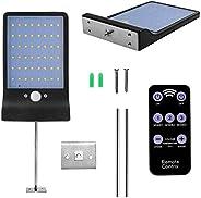 Luz Solar 48 LED, WINSUNY Foco Solar LED Exterior con control remoto 3 Modos Lámparas de Pared IP65 Impermeabl