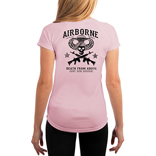 Dead Or Alive Clothing Women's Army 82ND Airborne UPF 50+ Short Sleeve T-Shirt XX-Large Pink Blossom