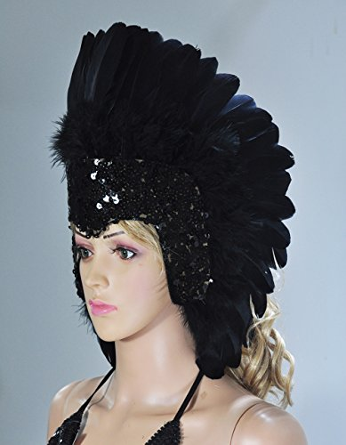 Hot-fans Sequins Las Vegas Dancer Showgirl Headpiece, Black -