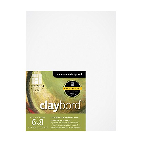 Ampersand Museum Series Claybord Panels for Paint and Ink, 1/8 Inch Depth, 6/8 Inch, Pack of 3 (CBS0608)