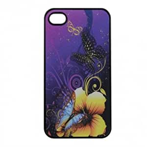3D Butterfly Drama Flower Pattern Defender Cover Case For iPhone 4 4S