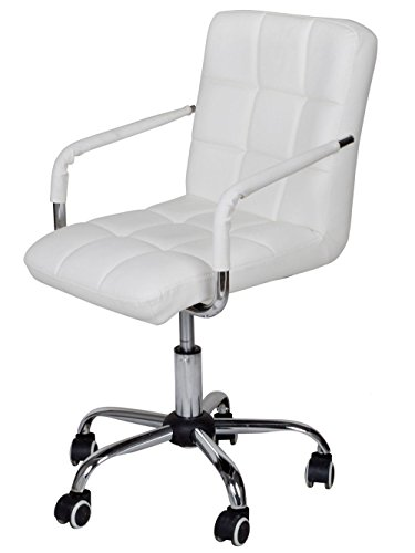 Hydraulic Swivel Armrest Chair White PU Leather Computer Desk (Chippendale Bar)