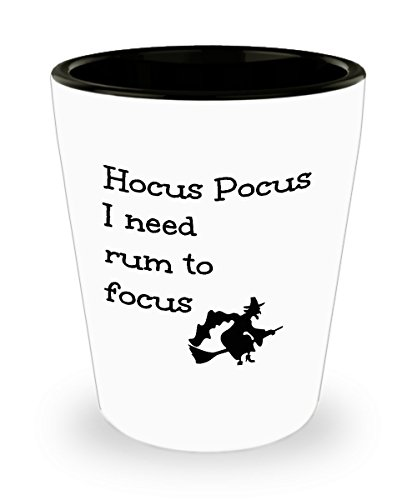 Funny Rum Lover Gift Shot Glas Hocus Pocus I Need to Focus Cute Magic Halloween Witch Themed Mini Cup Gag Joke for Men Women 1.5 oz -