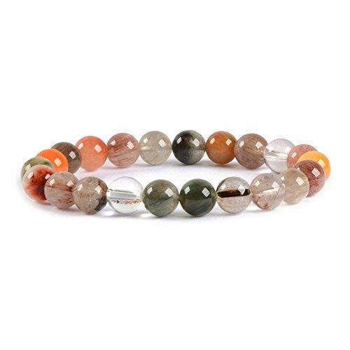 Green Rutilated Quartz (Natural A Grade Multi-color Rutilated Quartz Gemstone 8mm Round Beads Stretch Bracelet 7