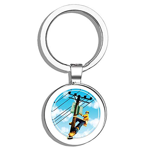 HJ Media Electrical Lineman Metal Round Metal Key Chain Keychain ()