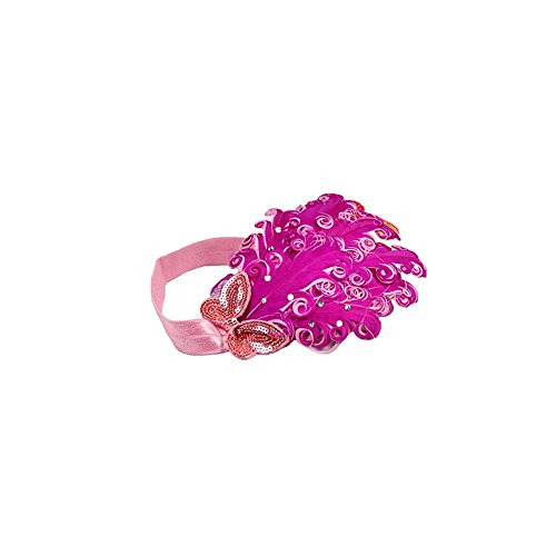 Price comparison product image FuzzyGreen Lovely Baby Toddlers Child Girls Hot Pink Feather Rhinestone Sequins Butterfly Elastic Stretch Headband Headdress Hairband Hair Accessories Photography Prop
