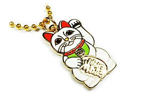 Maneki Neko Lucky Cat Japanese Talisman Pendant Necklace w/ Ball Chain (Porcelain Pin Hat)