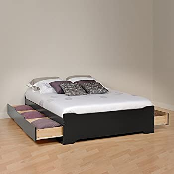 Amazon Com White Queen Mate S Platform Storage Bed With 6
