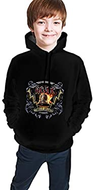 MBFAAOsoll ACDC Back in Black Boys Girls Hoodies for Kids 3D Prints Casual Pullover Sweatshirts with Pocket fo
