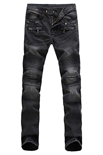 Aiyino Men's Ripped Slim Straight Fit Biker Jeans With Zipper,US 32,Grey