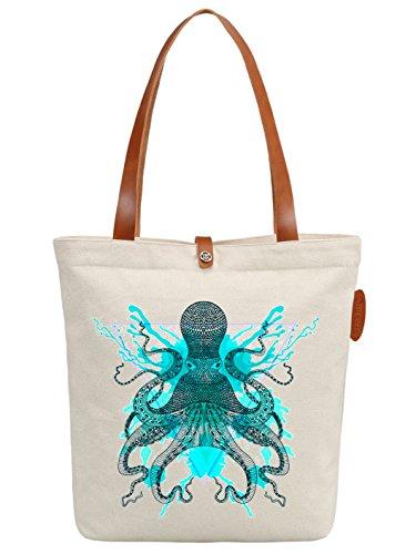 IN.RHAN Women's Octopus Graphic Canvas Tote Bag Casual Shoulder Bag Handbag