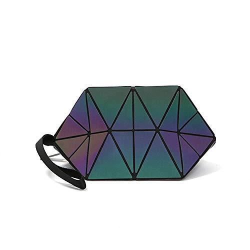 Cosmétique Xingf Triangle cercle Verni Losange Cuir Sac Cosmétiques Demi De Lumineux Portable En Motif Pu Géométrique Luminous Triangulaire Mode Embrayage gxfR8qwgr