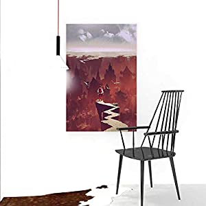 Modern Wall Art Decor Frameless W32 x H48- for Home Print Decor for Living Room Fantasy Art House Decor Man on Edge Staring to Other Side at Buried City Melancholy Print Brown Beige.