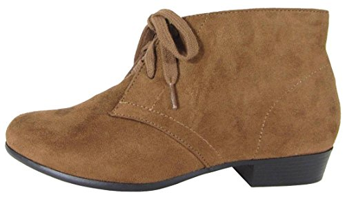City Classified Comfort Womens Round Toe Lace-Up Low Stacked Heel Ankle Bootie Cognac Imsu 4nrCFke
