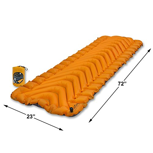 Klymit Insulated Static V LITE All Season Sleeping Pad, Orange/Gray