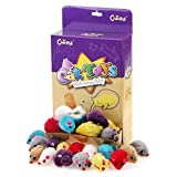 Chiwava 24PCS Furry Cat Toy Mice Lovely Small Mouse Kitten Interactive Play Assorted