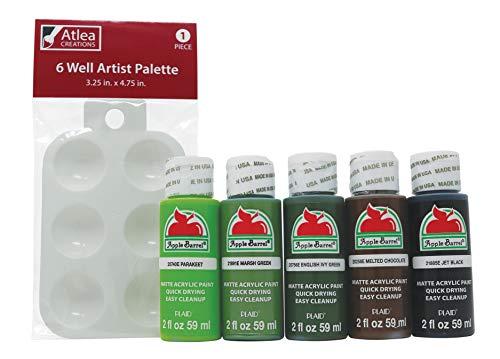 """Apple Barrel""""Forest Colors"""" Acrylic Paint (2-Ounce Bottles) & Atlea Creations Artist Paint Palette Set -  681920027027, ACREA033"""