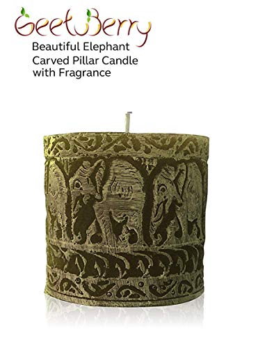 (GeetuBerry Beautiful Elephant Carved Scented Pillar Candle (Green) |3x3| Jasmine Fragrance | Rustic, Spring, Easter, Farmhouse, Country, Elephant Decor | Mother's Day, Eid)