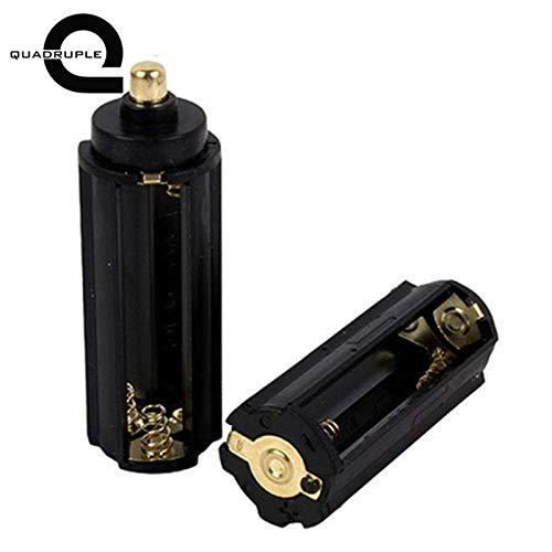 Isali Quadruple 2Pcs Black Cylindrical 3 AAA Battery Holder Box Plastic Metal Battery Adapter Case for Flashlight Torch