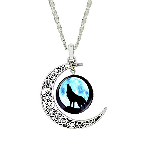 Gemingo New Howling Wolf Necklace Glass Dome Wolf Necklace Sterling Silver Crescent Pendant Dome Sterling Silver Necklace