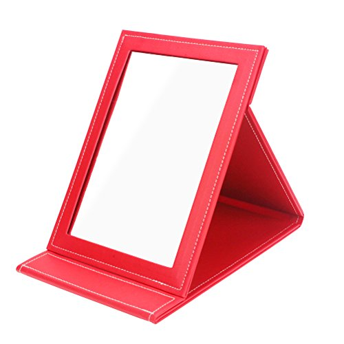 Youngman Leather Travel Portable Foldable Mirror Makeup Mirror with Adjustable Stand ()
