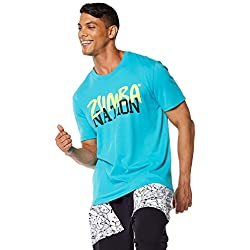 Zumba Mens Z Nation Tee, Waterfall, Large