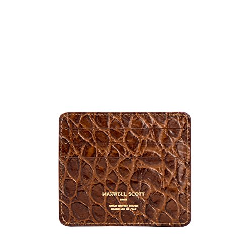 Maxwell Scott Luxury Italian Leather Mens Faux Crocodile Card Holder - Choc by Maxwell Scott Bags (Image #2)
