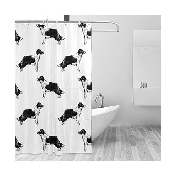 Border Collies Bathroom Shower Curtain Shower Printing Curtains Durable Polyester Bath Curtain Waterproof Bathroom Curtain with 7-12 Hooks 60x72 in 2