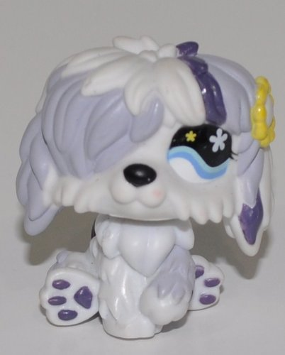 Sheepdog #466 (White, Blue Eye, Yellow Flower) - Littlest Pet Shop (Retired) Collector Toy - LPS Collectible Replacement Single Figure - Loose (OOP Out of Package & Print)