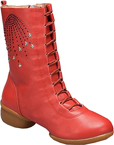 Abby Womens Comfortable Professional Leather Split-Sole Square Dance Boots Orange wrIG3Fi