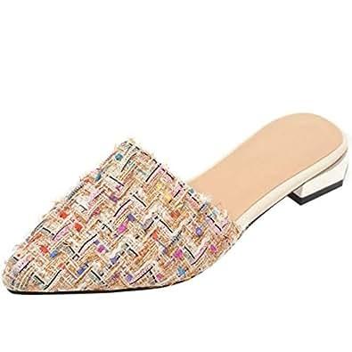 RizaBina Women Plaid Summer Slipper Knitted Slipper Slip On Sandals Chunky Heels Sandals Apricot Size 32 Asian