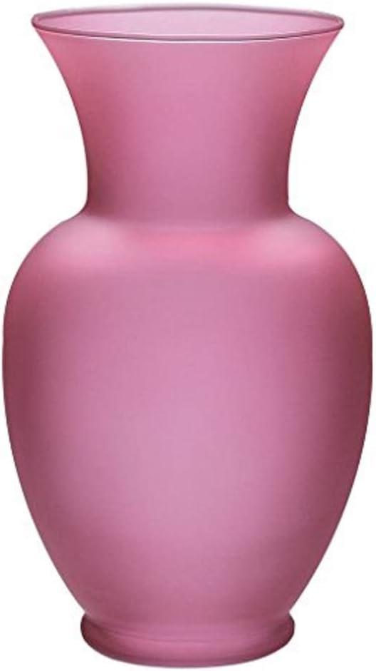 """Floral Supply Online - 8 3/4"""" Pink Spring Garden Vase - Decorative Glass Flower Vase for Floral Arrangements, Weddings, Home Decor or Office."""