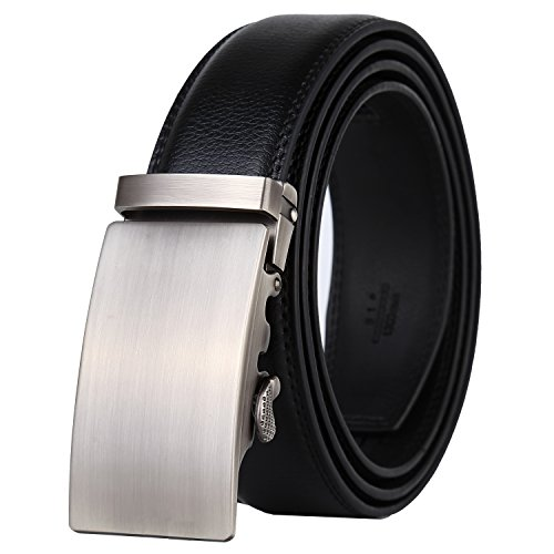 Dante Men's Real Leather Ratchet Dress Belt with Automatic Buckle-Elegant Gift Box(All Silver Buckle), 26-47