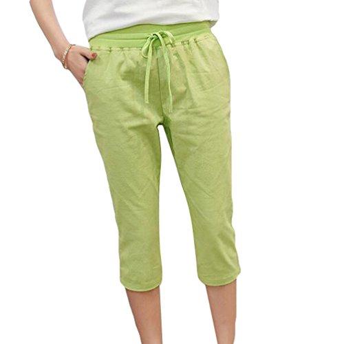 YiLianDa Mujeres Elástico Cintura para Playa Casual Primavera Verano Pantalones Verde