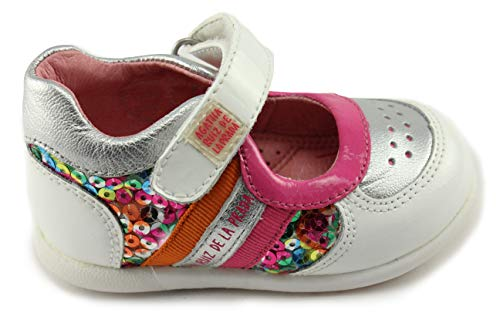 (Agatha Ruiz De La Prada 142915 Girls White Mary Jane Leather Shoes with Arch and Ankle Support)