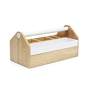 Umbra Toto Storage Box, Modern Storage Caddy Great for Storing Makeup Brushes, Stationary, Birch Wood/White Metal Finish