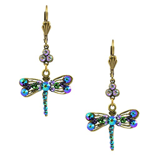 Anne Koplik Dragonfly and Clover Dangle Earrings, Gold Plated