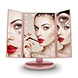 Vanity Lighted Makeup Mirror with 2X 3X 10X Magnification 22 LED Lights, Touch Screen 180° Adjustable Rotation, Rose Gold Cosmetic Tabletop Mirror