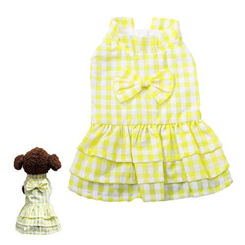 Petea Bowknot Plaid Tutu Dog Dress Vest Apparel Skirt Clothes Pet Puppy Princess Clothes for Dogs and Cats (M, -