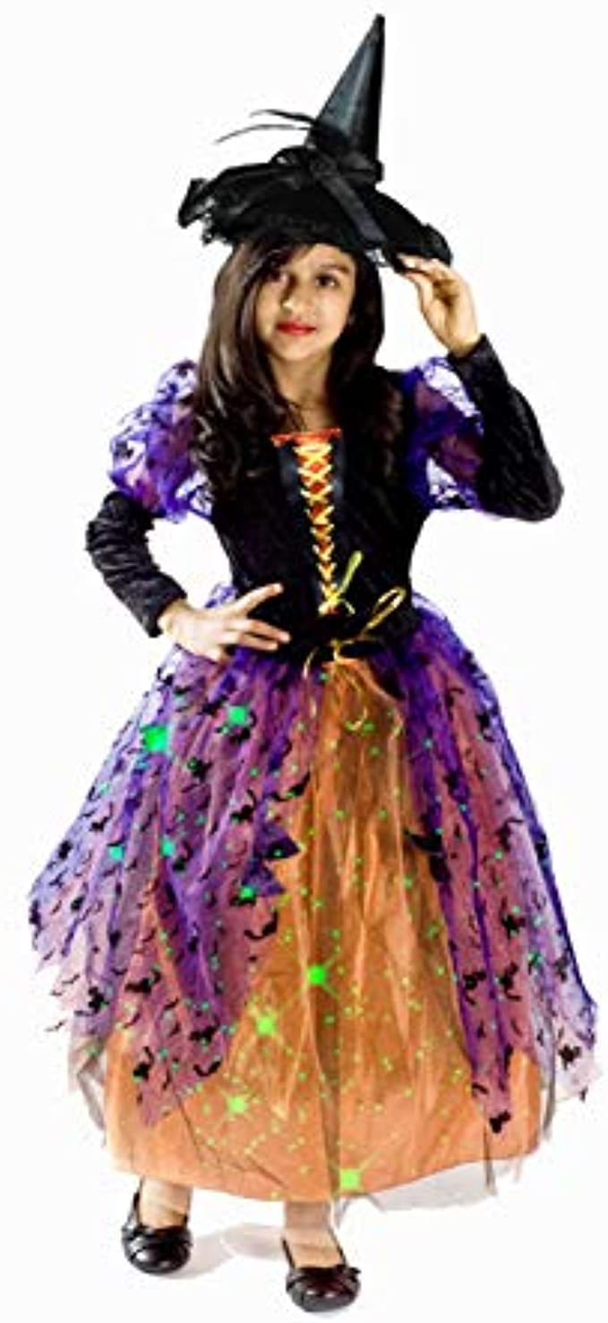 MONIKA FASHION WORLD Witch Costume for Girls with Black hat Skirt Lights up