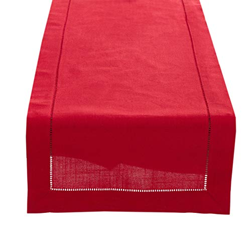 Fennco Styles Rochester Collection with Hemstitched Border Table Runner - Linen-Cotton - 3 Sizes -